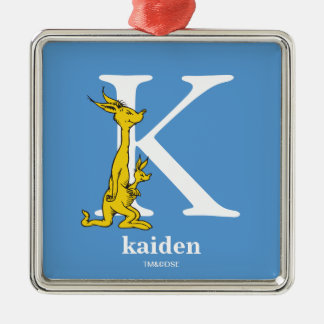 Dr. Seuss's ABC: Letter K - White | Add Your Name Silver-Colored Square Ornament