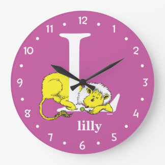 Dr. Seuss's ABC: Letter L - White | Add Your Name Large Clock