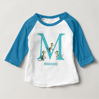 Dr. Seuss's ABC: Letter M - Teal | Add Your Name Baby T-Shirt