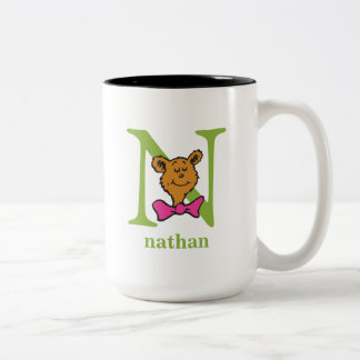 Dr. Seuss's ABC: Letter N - Green | Add Your Name Two-Tone Coffee Mug