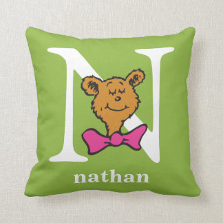 Dr. Seuss's ABC: Letter N - White | Add Your Name Throw Pillow