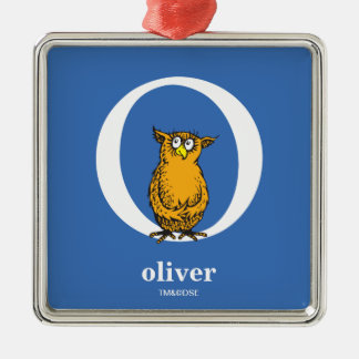 Dr. Seuss's ABC: Letter O - White | Add Your Name Silver-Colored Square Ornament