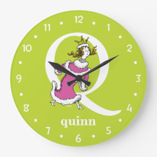 Dr. Seuss's ABC: Letter Q - White | Add Your Name Large Clock