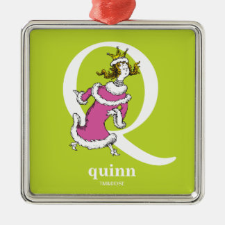 Dr. Seuss's ABC: Letter Q - White | Add Your Name Silver-Colored Square Ornament