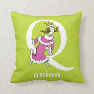 Dr. Seuss's ABC: Letter Q - White | Add Your Name Throw Pillow