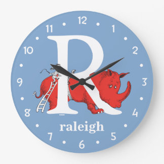 Dr. Seuss's ABC: Letter R - White | Add Your Name Large Clock