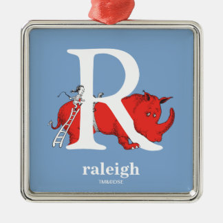 Dr. Seuss's ABC: Letter R - White | Add Your Name Silver-Colored Square Ornament