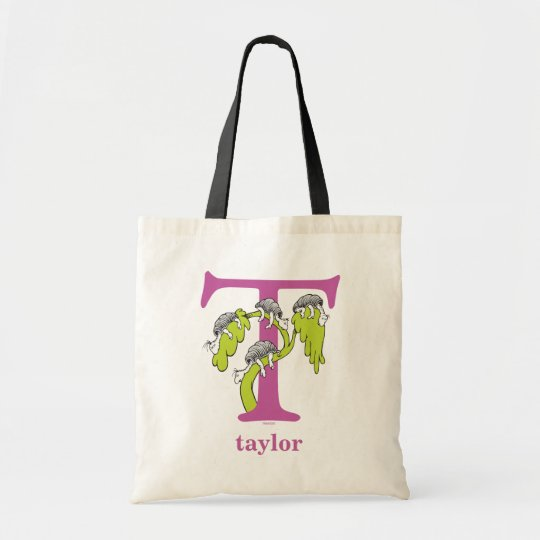 Dr. Seuss's ABC: Letter T - Purple   Add Your Name Tote Bag