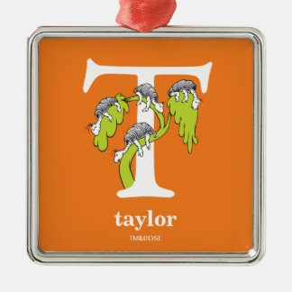 Dr. Seuss's ABC: Letter T - White | Add Your Name Metal Ornament