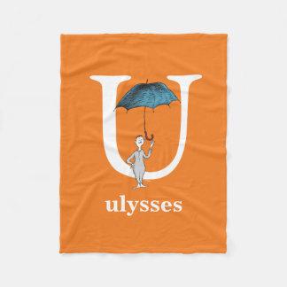 Dr. Seuss's ABC: Letter U - White | Add Your Name Fleece Blanket