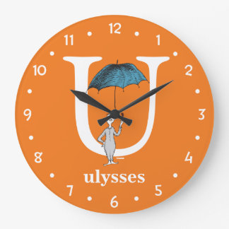 Dr. Seuss's ABC: Letter U - White | Add Your Name Large Clock