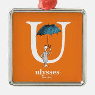Dr. Seuss's ABC: Letter U - White | Add Your Name Silver-Colored Square Ornament
