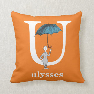 Dr. Seuss's ABC: Letter U - White | Add Your Name Throw Pillow