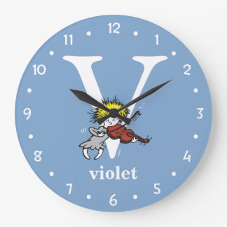 Dr. Seuss's ABC: Letter V - White | Add Your Name Large Clock