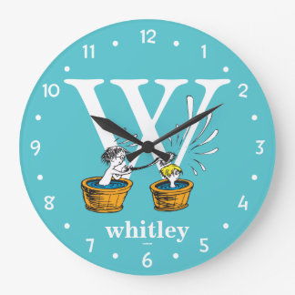 Dr. Seuss's ABC: Letter W - White | Add Your Name Large Clock