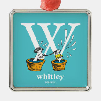 Dr. Seuss's ABC: Letter W - White | Add Your Name Silver-Colored Square Ornament