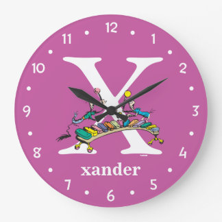 Dr. Seuss's ABC: Letter X - White | Add Your Name Large Clock