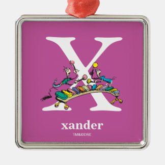 Dr. Seuss's ABC: Letter X - White | Add Your Name Silver-Colored Square Ornament