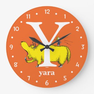 Dr. Seuss's ABC: Letter Y - White | Add Your Name Large Clock
