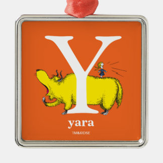 Dr. Seuss's ABC: Letter Y - White | Add Your Name Metal Ornament