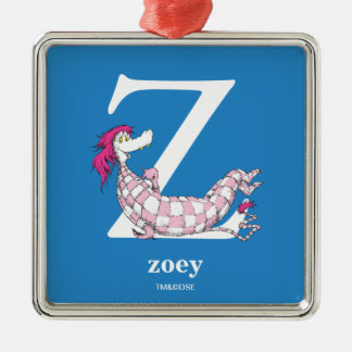 Dr. Seuss's ABC: Letter Z - White | Add Your Name Silver-Colored Square Ornament