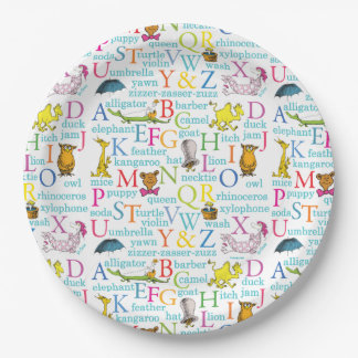 Dr. Seuss's ABC Pattern with Words Paper Plate