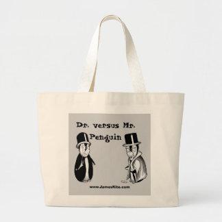 Dr. versus Mr. Penguin Jumbo Tote Bag