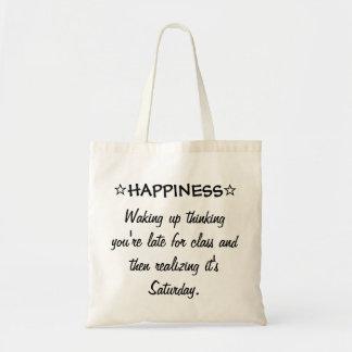 Draagtas satchel HAPPINESS Waking up thinking
