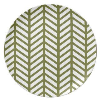 Drab Green Chevron Folders Dinner Plates