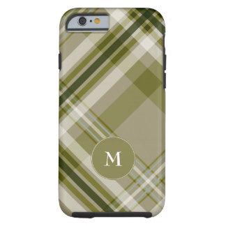 drab olive and beige plaid w monogram tough iPhone 6 case