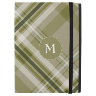 drab olive and beige plaid with monogram