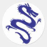 Drache blau blue dragon runde aufkleber