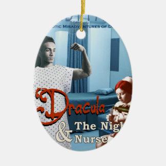 Dracula and the night nurse ceramic ornament