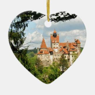 Dracula Castle in Transylvania, Romania Ceramic Heart Ornament