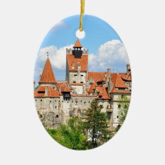 Dracula Castle in Transylvania, Romania Ceramic Oval Ornament