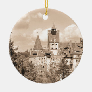 Dracula Castle in Transylvania, Romania Round Ceramic Ornament
