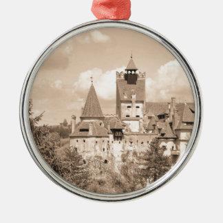 Dracula Castle in Transylvania, Romania Silver-Colored Round Ornament