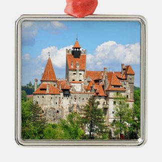 Dracula Castle in Transylvania, Romania Silver-Colored Square Ornament