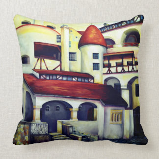 Dracula Castle - the interior courtyard Throw Pillow