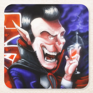 Dracula drinks blood square paper coaster