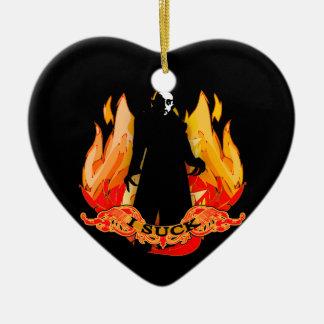 Dracula Nosferatu I SUCK with Flames Ceramic Heart Ornament