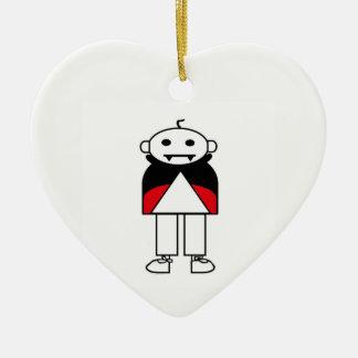 Dracula (Stick Family) Ceramic Heart Ornament