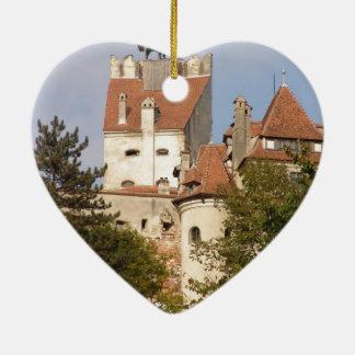 Dracula's Castle, Transylvania Ceramic Heart Ornament