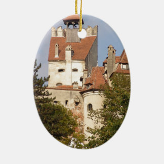 Dracula's Castle, Transylvania Ceramic Oval Ornament