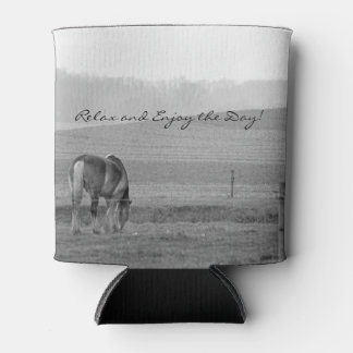 Draft Horse in Black and White Can Cooler