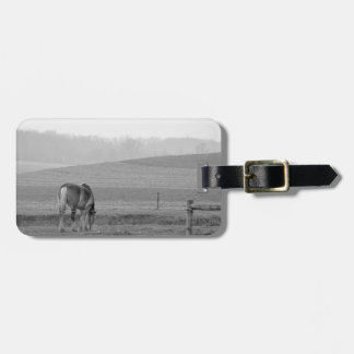 Draft Horse in Black and White Luggage Tag