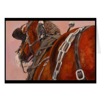 Draft horse in harness greeting card