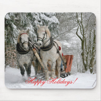 Draft Horses Christmas Mouse Pad