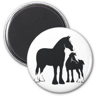Draft Mare and Foal 2 Inch Round Magnet
