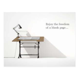 Drafting Desk Lamp & Blank Paper Postcard